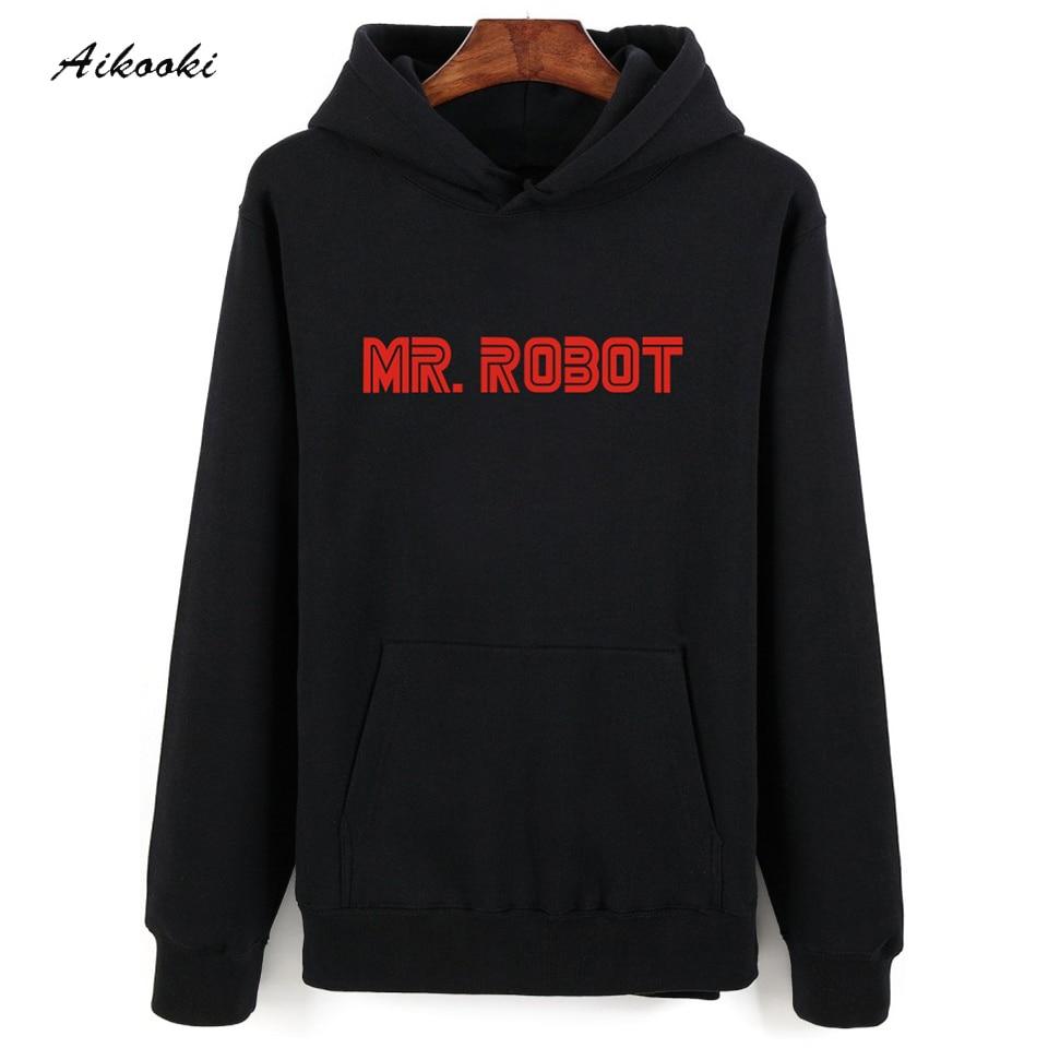 hot Mr Robot szürke fekete kapucnis pulóver férfiak Hip Hop téli meleg őszi stílus Férfi kapucnis pulóverek és pulóverek Túlméretes