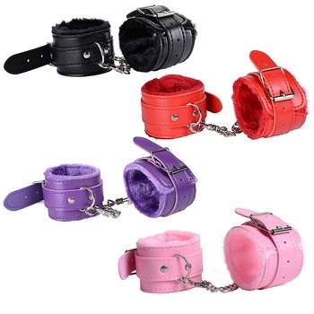 Sexy Adjustable PU Leather Plush Handcuff Ankle Cuff Restraints Bondage Sex Toy Lstry Restraints Sex Bondage Exotic Accessories 2