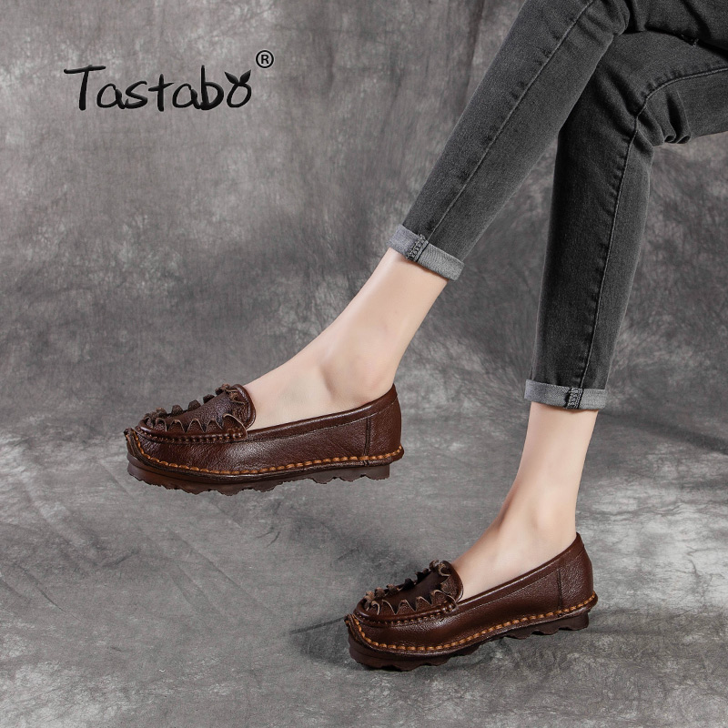 Tastabo Woman Flats Handmade 100% Full Grain Leather Autumn Flats Driving Shoes Soft Comfortable Casual Shoes Women Plus Size