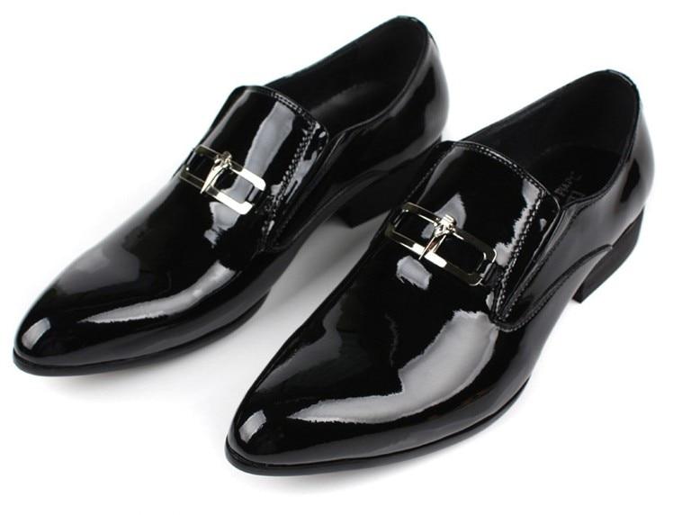 Didelės apimties EUR45 juodos vestuvių batai vyriški suknelės batai Patentinės odos verslo avalynės vyriški oficialūs jaunikių bateliai