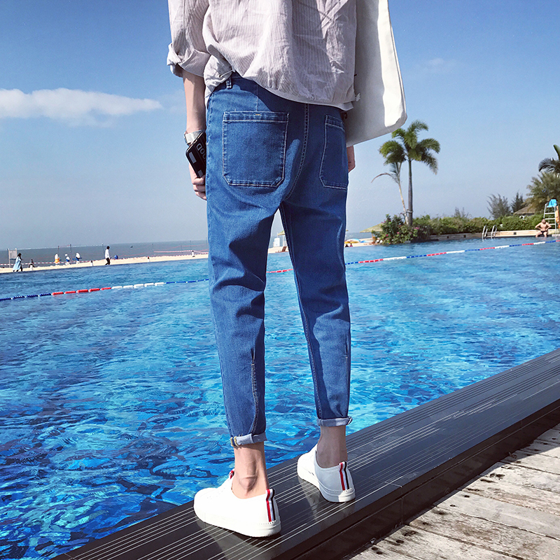 ФОТО Aian Size S-XXL Quality 2017 Spring New Arrival Ripped Jeans For Men Fashion Men Jeans Slim Fit ankle-length Jeans Men JC58