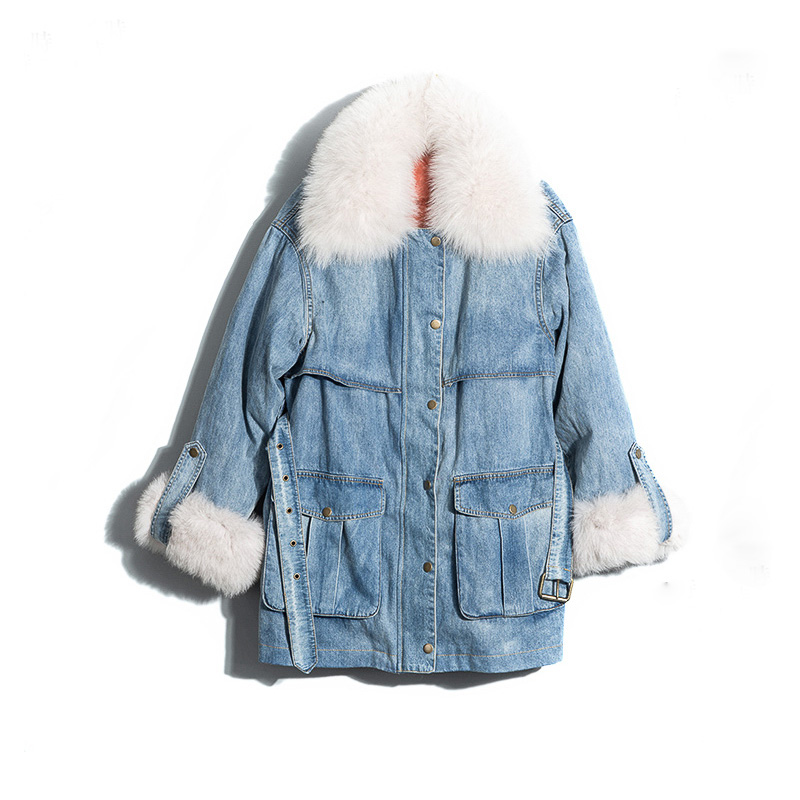 Natural Fox Fur Collar 2018 New Winter Jacket Women Long   Down   Warm Female Parka Real Fur   Coat   Cuffs Loose White Duck   Down     Coat