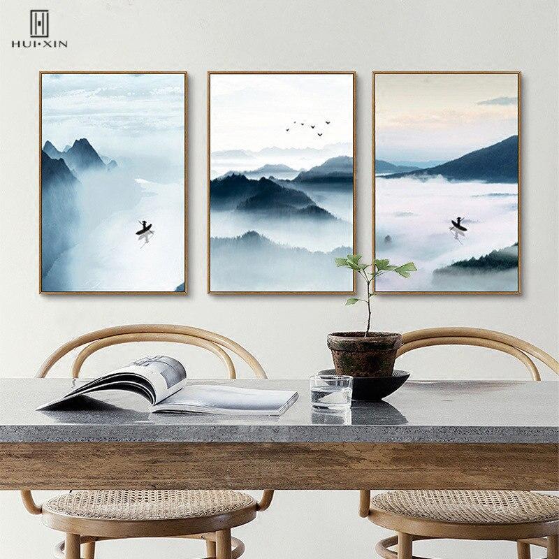 Природные сцены акварель холст Картины Традиционный китайский Стиль реки и горы вещь картинки для украшения дома ...