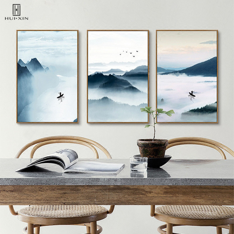 Natural Scene Watercolor Canvas Paintings Traditional Chinese Style River And Mountain Thing Pictures For Home Decoration