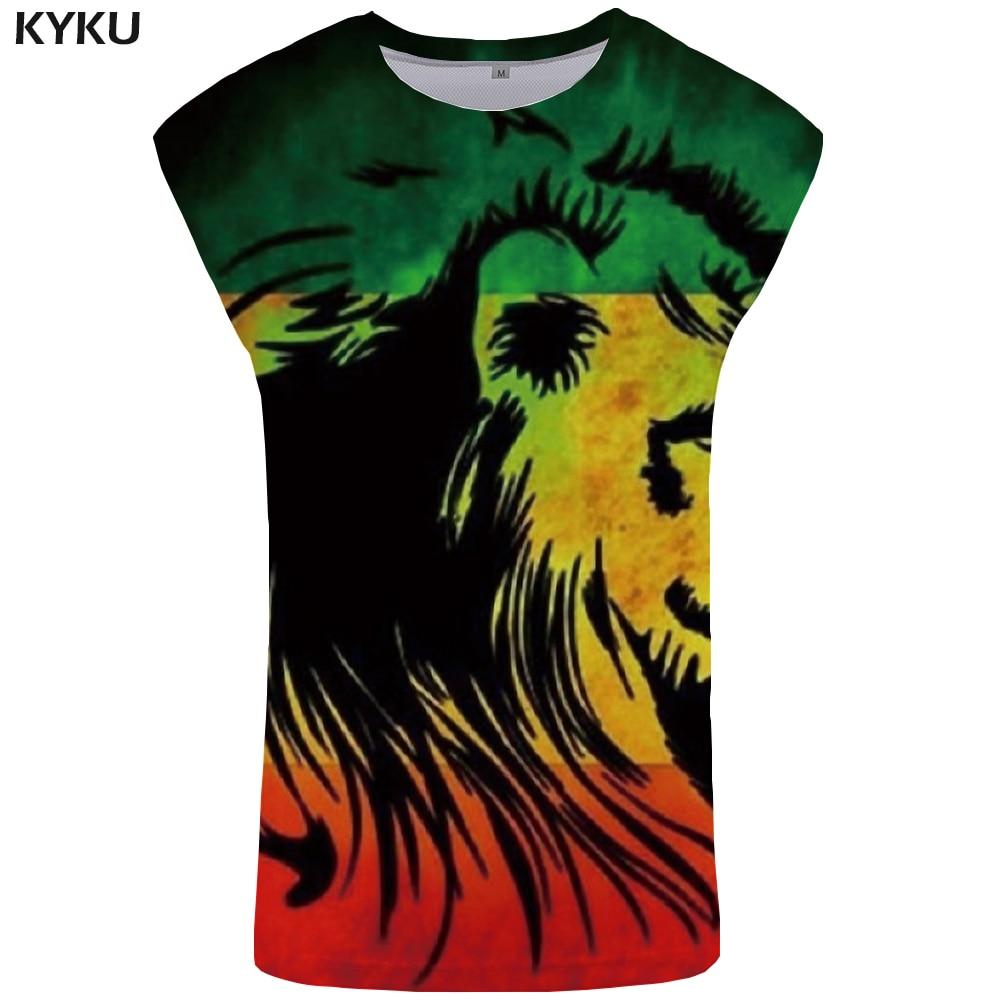 KYKU Brand Lion   Tank     Top   Men Brazil Undershirt Hip Hop Stringer Singlet Vest Ftness Clothing Sleeveless Shirt Man Anime