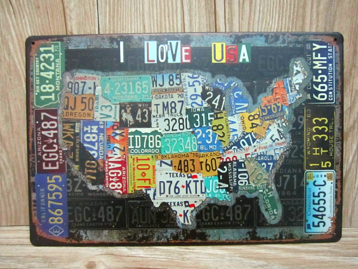 Vintage House Bar Cafe Painting Unite State Map Placas Wall Decor Metal Signs Wall Art Crafts Decoration Plate Hot Sale 20 30 Cm