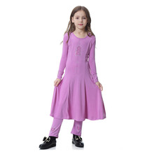 Muslim Islamic Girl Dress Long Sleeve Dresses Abaya Kaftan For Girls Dress+Pant 2pcs Suits Combinaison Musulman Enfant Clothes