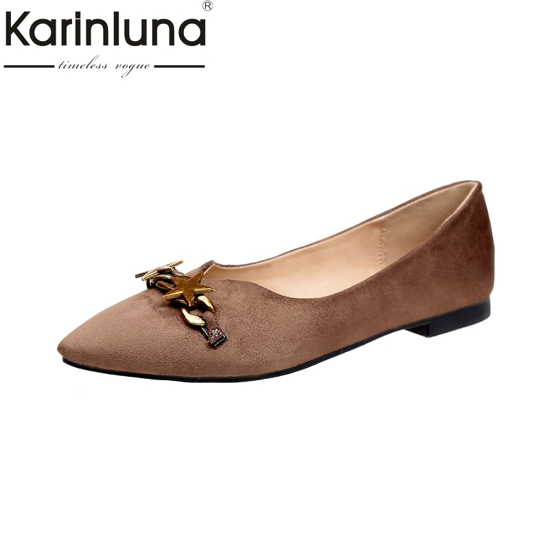 KarinLuna 2018 New Wholesale Dropshipping Metal Decoration Pointed Toe Flats Shoes Women Fashion Spring Summer Shoes Footwear pu pointed toe flats with eyelet strap