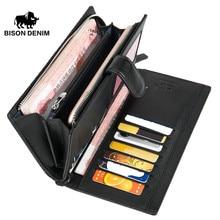 BISON DENIM äkta läder manliga plånbok långa kopplings dragkedja handväska kort hållare långa mynt handväska portomonee lyxiga pengar påse N8206