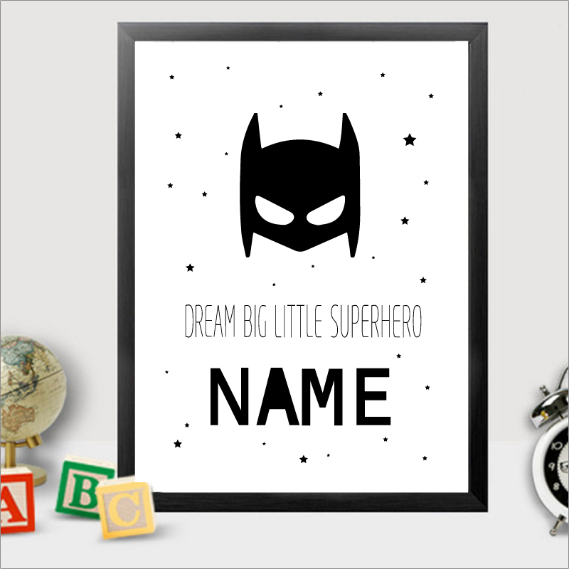 Personalised Batman Name Canvas Art Print Painting Poster