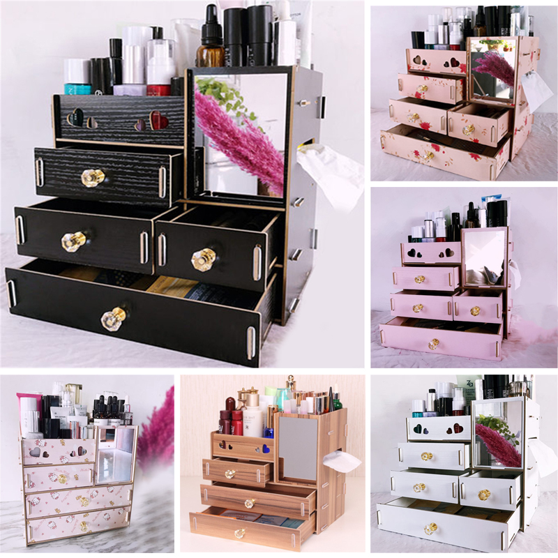 Jewelry Container Wood Drawer Organizer Handmade Cosmetic ...