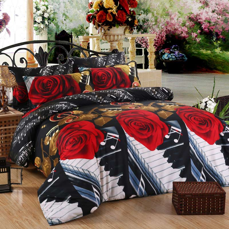 3d Big Rose Print 400TC Cotton Queen Size Bedding Set Of Duvet Cover Bed Sheet Pillow Cases 4pcs Kit Black And Red Rose Bedding