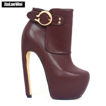 jialuowei Women Ankle Boots Strange Style 18CM High Heel Platform Round Toe Zipper Ladies Party Clubwear Fetish Shoes