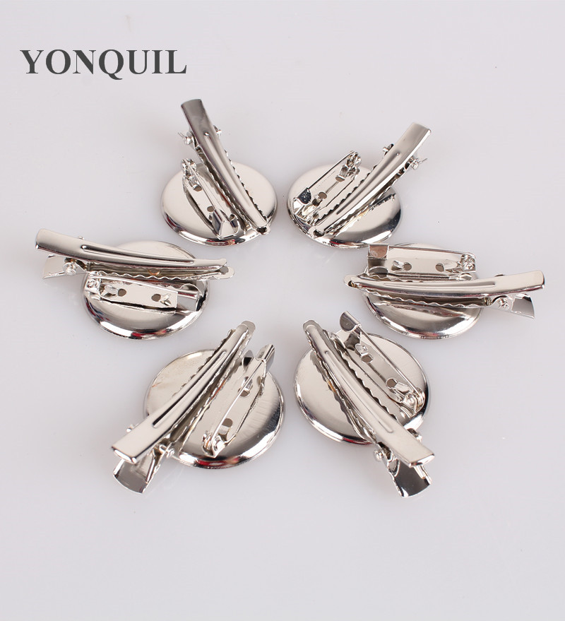 DIY brooch base 30mm Dual Brooch Back Base With Clip and Safety Pin use for brooch and hair jewelry CPAM 100pcs/lot free ship