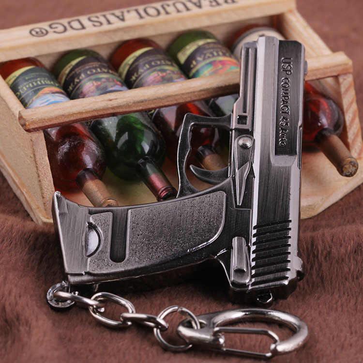 Counter strike HK USP compact pistol gun arma modelo braços Homens liga Keychain do Anel Chave de Cadeia Saco Charme Chaveiro Llavero