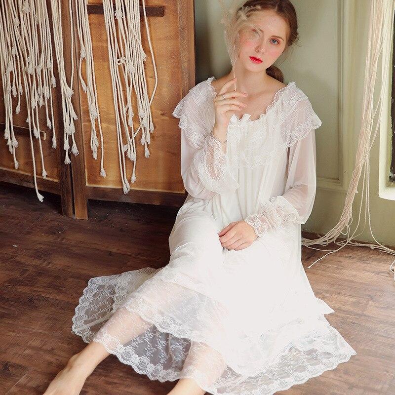 White Cotton Nightgown Women Autumn Sleepwear Lace V Neck Long Sleeve Slash Ruffle Sleep Shirt Night Dress Robe Lounge Wear