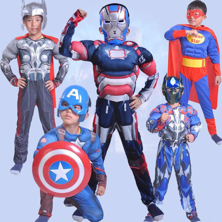 0012ac83066a8c 男の子筋肉スーパーヒーローキャプテンアメリカ衣装スパイダーマン、アイアンマンハルクアベンジャーズ衣装コスプレ用