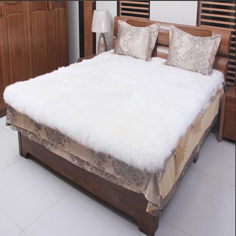 Oveja blanca alfombra manta de piel real mantas decorativas piso oveja alfombras y alfombras - Alfombra oveja ...