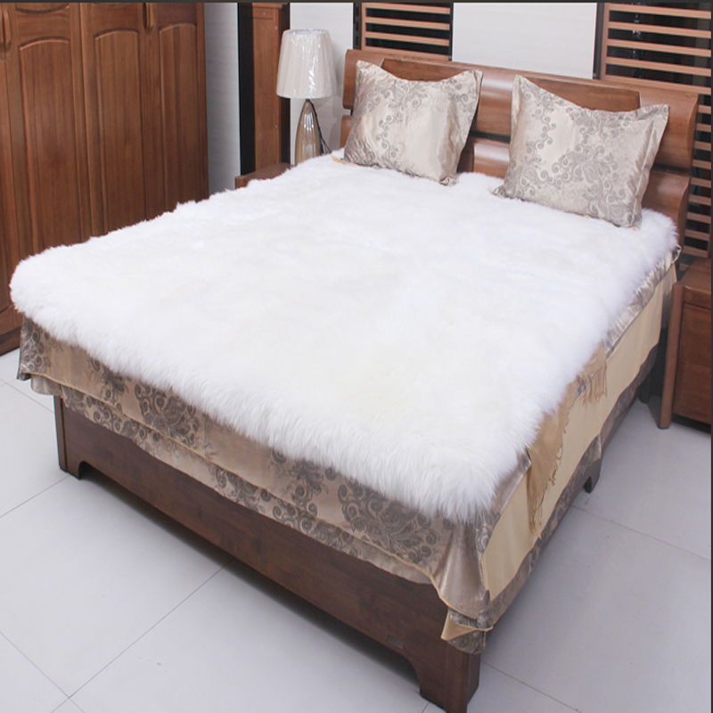 White Sheepskin Rug Fur Carpet Bed Real Fur Blanket