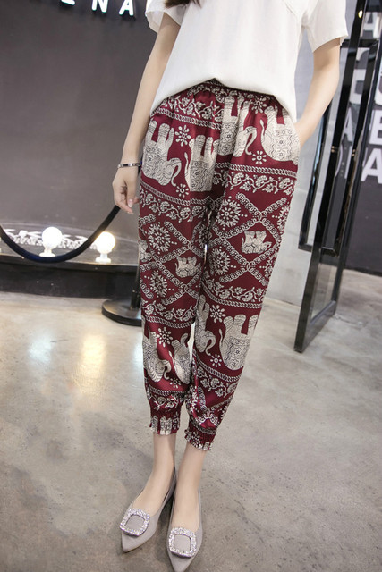 2018 fashion summer print chiffon women pants casual loose plus size harem pants bohemian style beach ankle-length pants D783 30