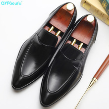 QYFCIOUFU 2019 Newest Men Dress Shoes Designer Business Office Slip-on Loafers Casual Genuine Leather Men's Flat Party Shoes