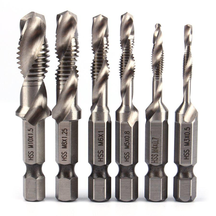 6pcs M3-M10 Screw Tap Drill Bits Hss Taps Countersink Deburr Set Metric Bit