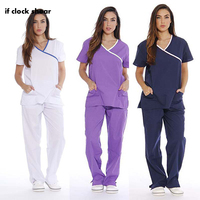 Short Sleeve Medical Suit Scrub Suits Dental Beautician Oral Pet Operating Room Surgical Gown Top + Pant Female Uniform Summer