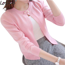 lollas  solid color fashion women sweater  cardigan thin  summer short design knit long-sleeve sweater