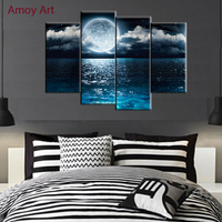 4 Panel Moon Ocean Painting Pictures For Bedroom Wall Decor Modern Canvas Art Wall Pictures For