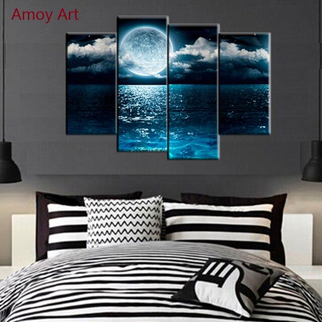 4 Panel Mond Ozean malerei Bilder für Schlafzimmer wand dekor ...