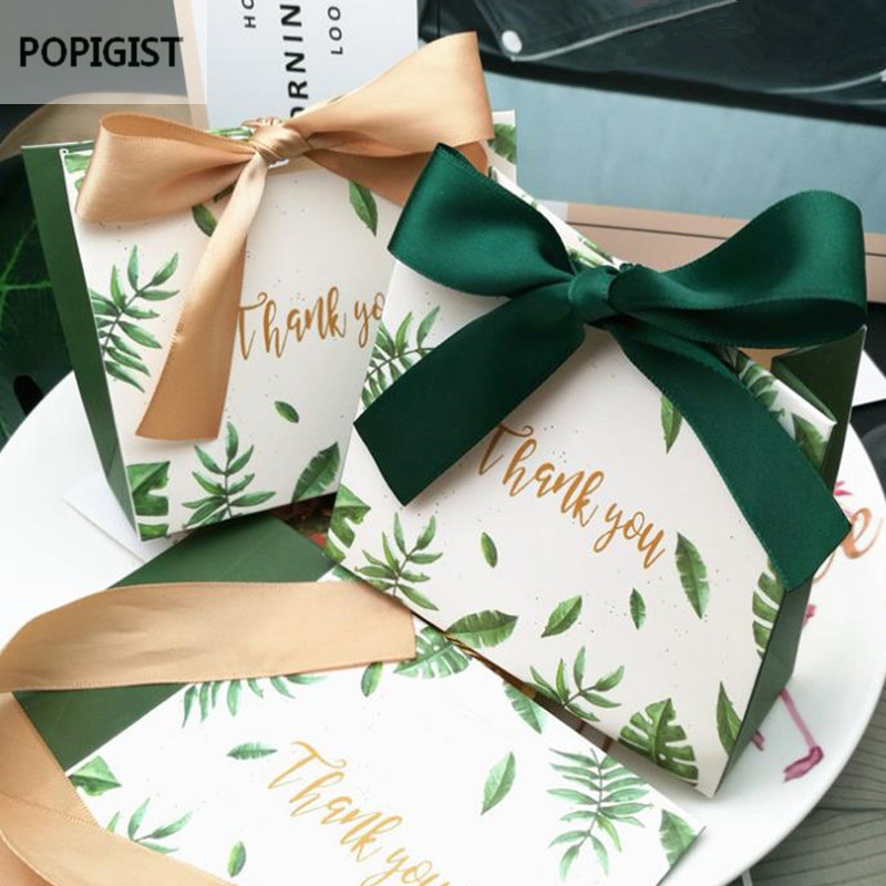30PCS Square Green Leaves Candy Bag Box For Party Table Decoration/Event Party Supplies/Wedding Favours Gift Boxes
