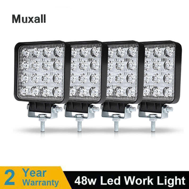 48W LED WORK LIGHT 12V 24V Spot Flood Lights Beam For Off Road Auto Motorcycle Headlight 4x4 SUV UAZ ATV Rampe Car Driving Lamps