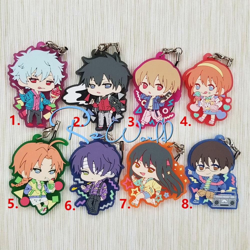 Gintama Anime Gintoki Sakata Kagura Shinpachi Toushirou Sougo Kamui Shinsuke Summer Ice Rubber Keychain servamp anime vampire mahiru kuro snow lily jeje hyde food version japanese rubber keychain