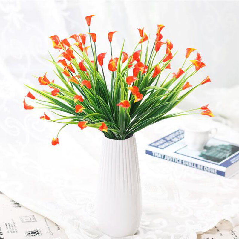 Mini tamaño PE ramo Calla lirio rojo atardecer Real Touch flor ...