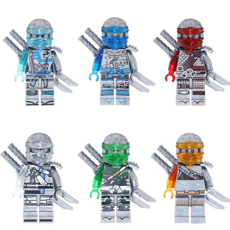 6 uds NinjagoINGlys cifras héroes de edición Nya Lloyd Jay Zane Kai armas de bloques de construcción de juguetes para los niños