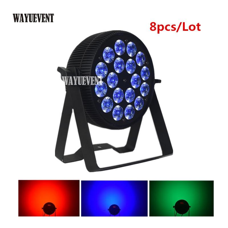 8pcs LED Par 18x12 W RGBW 4IN1 Powercon cable 18x15W RGBWA 5IN1 18x18W RGBWA+UV Controller DMX Led Flat Par dj party wash light