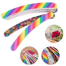 2018 New Nail Files Sanding 100/180 Grit Curve Manicure Nail Art Tips UV Gel Polisher недорого