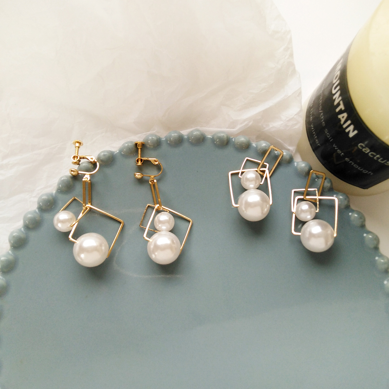 Earrings Unique Metal Geometry Pearl Earrings Women wear simple pearl Earring For Women Non Piercing Earring 2019 in Stud Earrings from Jewelry Accessories