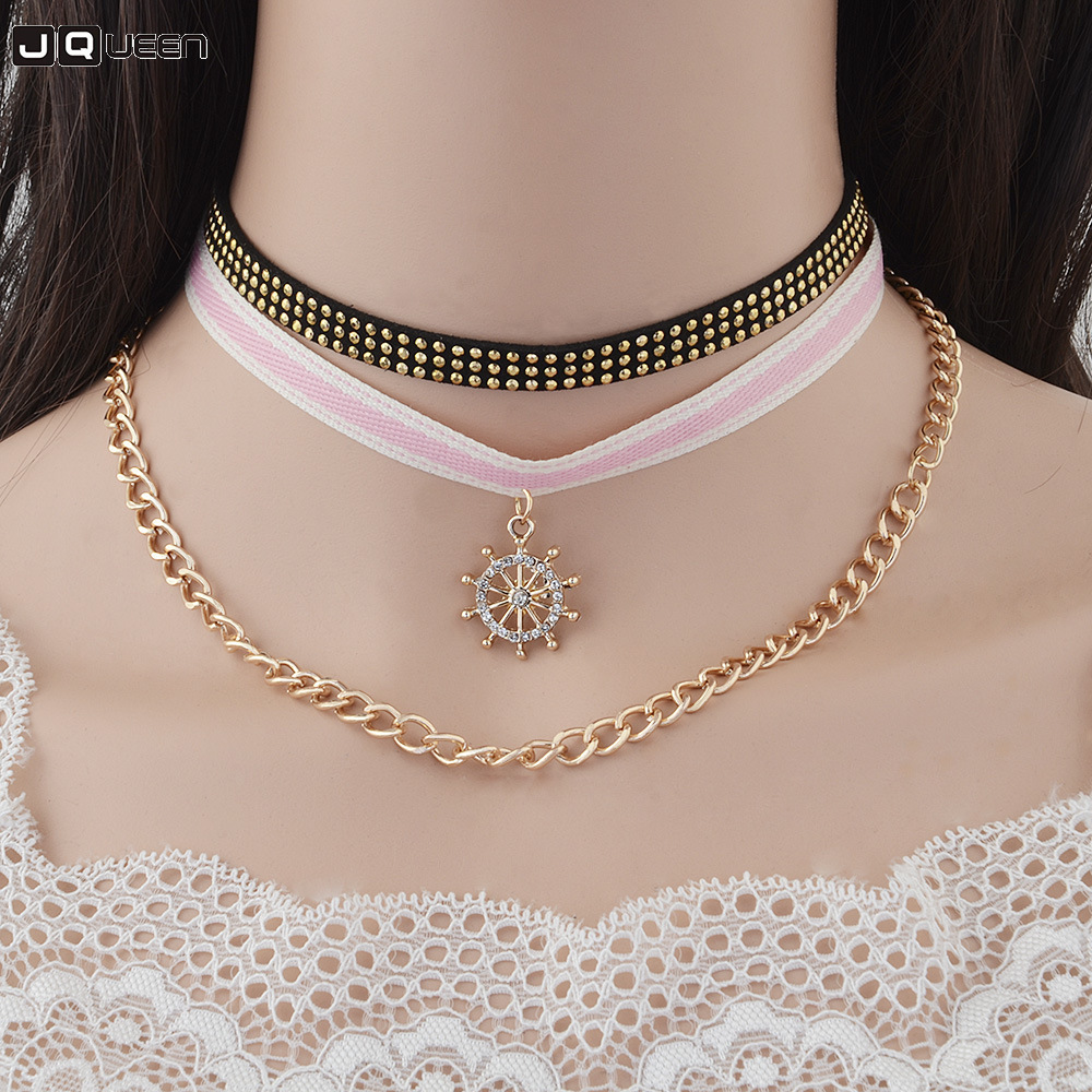 2018 Hot Selling Multi-layer Personality Flannelette Crystal Stripe Cloth Collocation Combine Gold Necklace Clavicle Chain