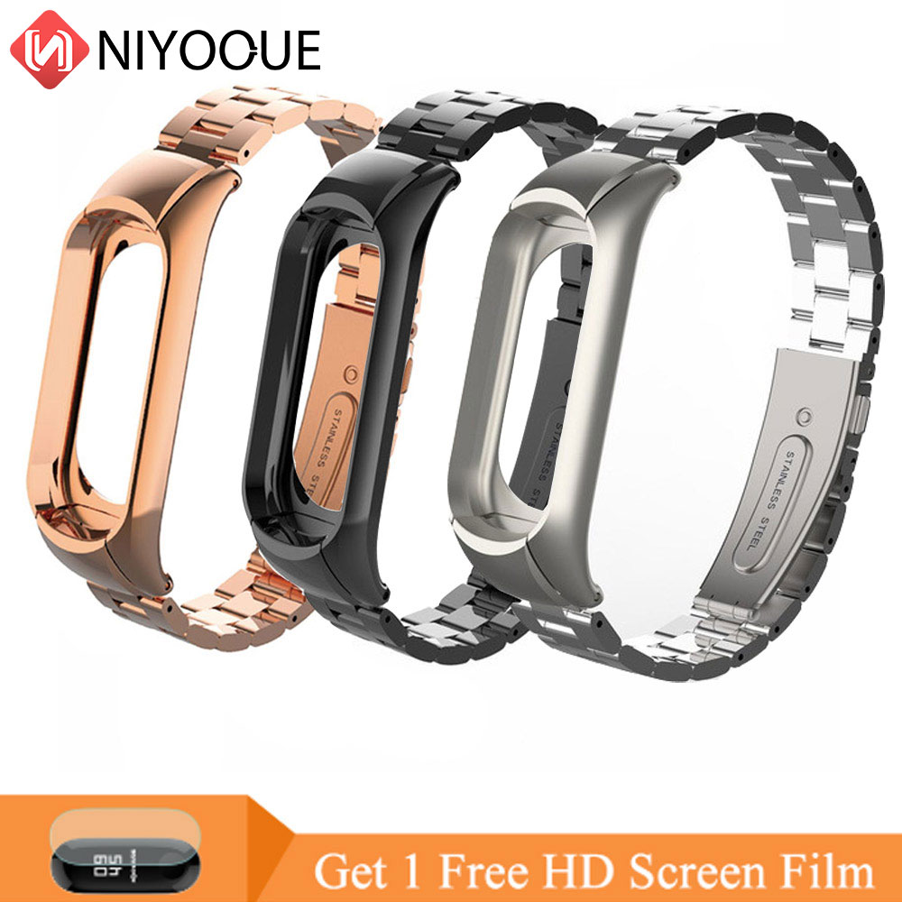 NIYOQUE Metal Steel Strap Belt For Xiaomi Mi Band 3 Wristband For Miband 3 Smart Bracelet Colorful Strap