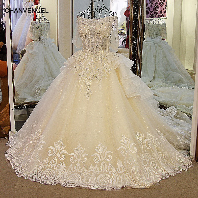 LS01178 Latest Champagne Wedding Dresses Off Shoulder Bling Beaded Rhinestone Ball Gown Puffy Sleeves Lace Wedding Gowns 貓 帳篷