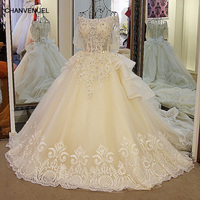 LS01178 Latest Champagne Wedding Dresses Off Shoulder Bling Beaded Rhinestone Ball Gown Puffy Sleeves Lace Wedding Gowns