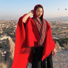 Mingjiebihuo poncho de talla grande para mujer, ropa de punto de alta calidad, borlas de bufanda gruesa y cálida, estilo famoso