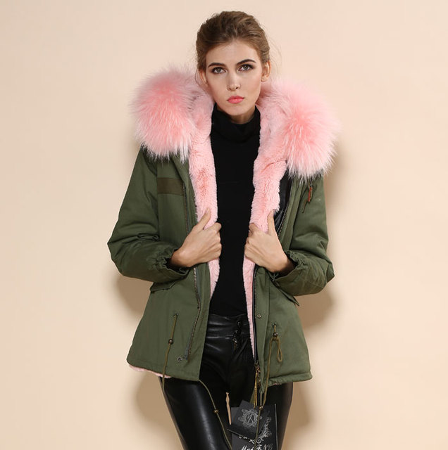 cb1441a82a5 2018 New concept women army style light pink collar hooded military parka  furs jacket