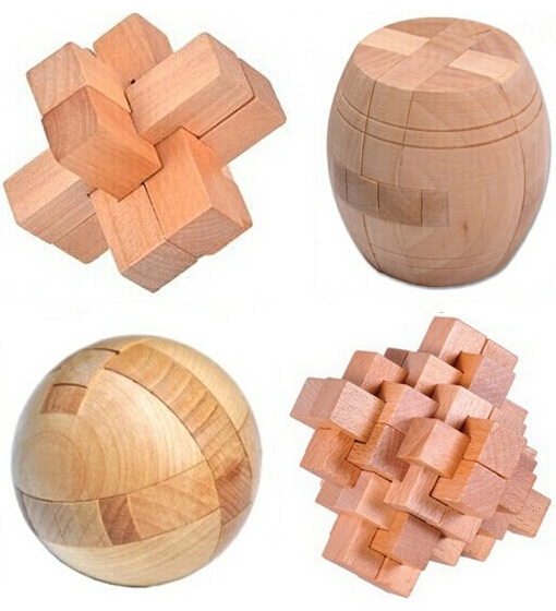 4PCS / Lot 3D Wooden Puzzle IQ Brain Teaser Interlocking Burr - Puslespill - Bilde 1