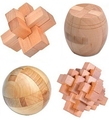 4PCS/Lot 3D Wooden Puzzle IQ Brain Teaser Interlocking Burr Puzzles Game Toy for Adults Children Kids