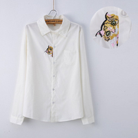 Spring 2016 White Blouse Women Cotton Cut Cat Embroidery White Shirt Tops For Girls Long Sleeve