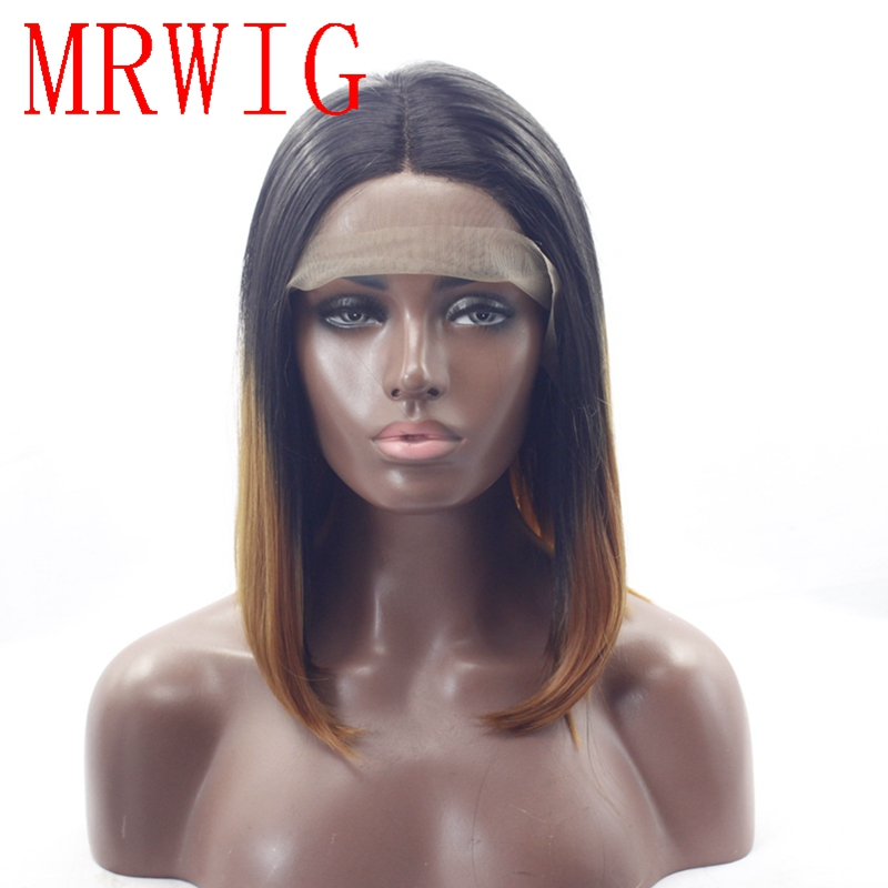 MRWIG short bob straight 1b#/30# auburn hair color synthetic glueless front lace wig 12in real hair middle part