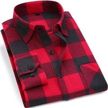 2017 New Mens Plaid Shirt 100% Cotton High Quality Mens Business Casual Long Sleeve Shirt Male Social Dress Shirts Flannel