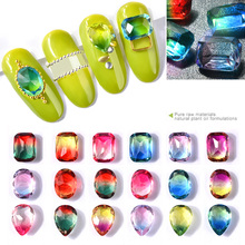 hot deal buy 10 pcs crystal glass multi-color top tourmaline nail rhinestones droptear square charm 3d diamond jewelry diy nail decorations